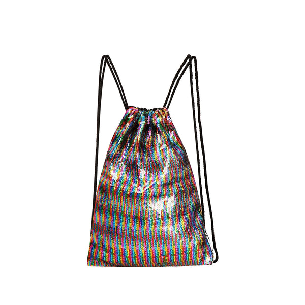Sequins Decor Backpack With Drawstring