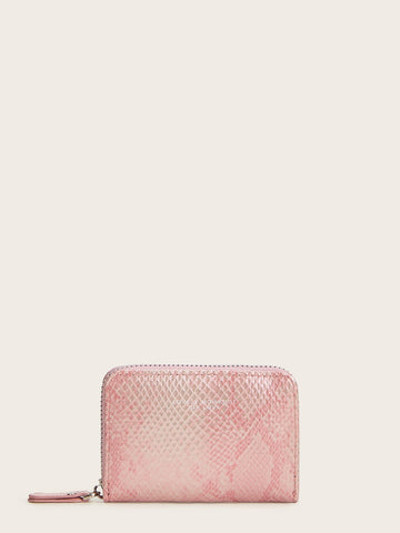 Zip Around Snakeskin Print Card Holder