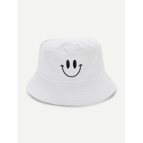 Embroidered Detail Bucket Hat White