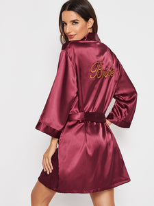 Letter Embroidered Self Belted Satin Robe