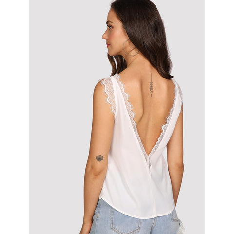 Lace Trim Deep V Back Top White