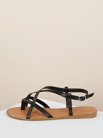 Strappy Slingback Thong Flat Sandals