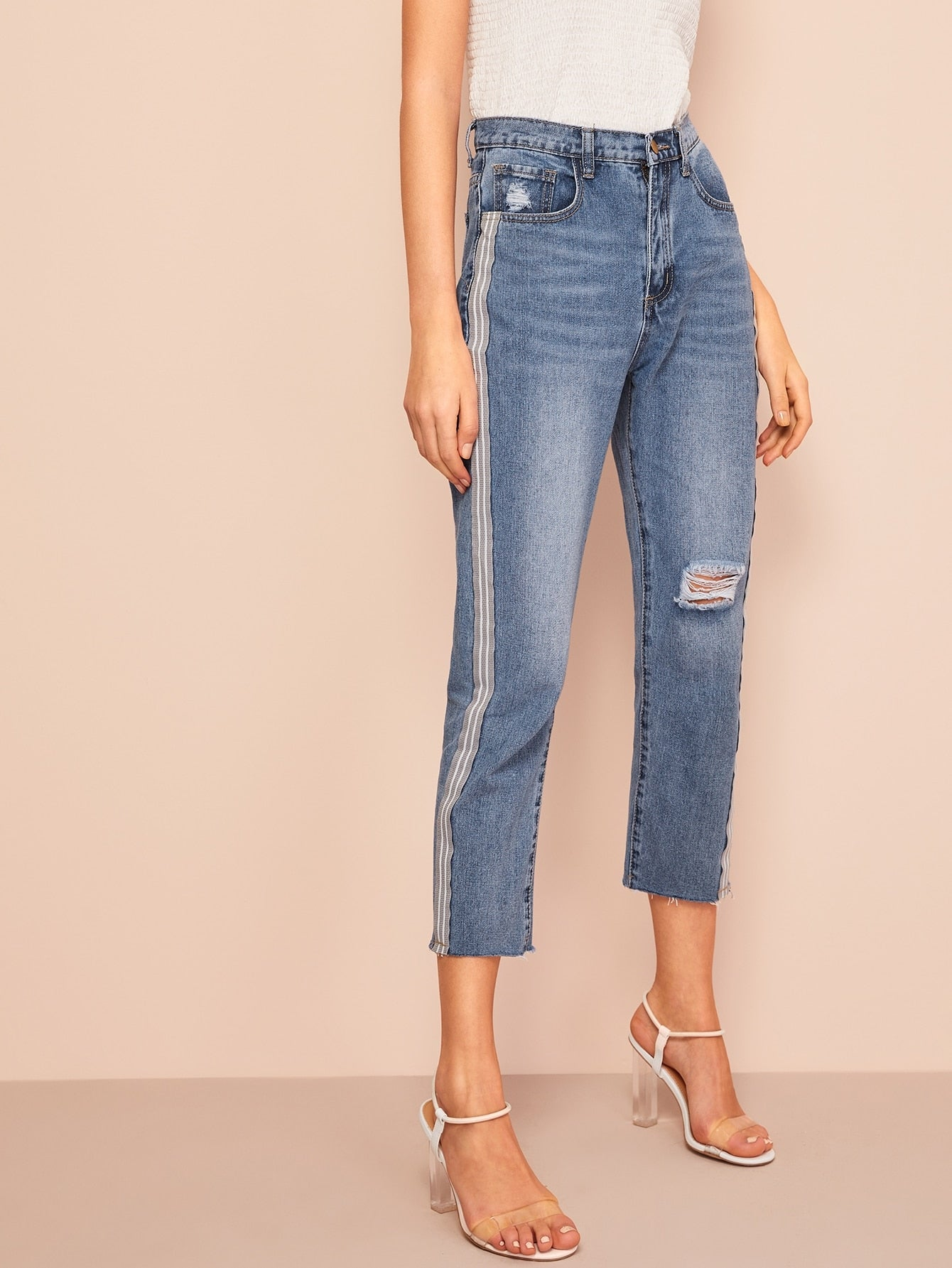 Side Striped Tape Ripped Detail Crop Jeans