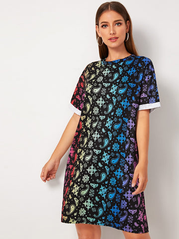Allover Paisley Print Tee Dress
