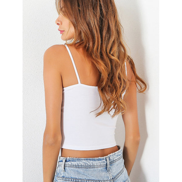 Button Front Crop Cami Top White