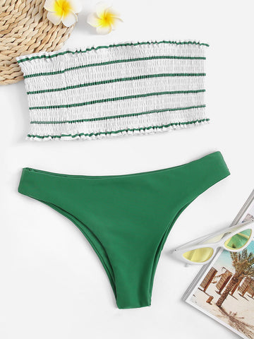 Striped Smocked Frill Trim Bandeau Bikini Set