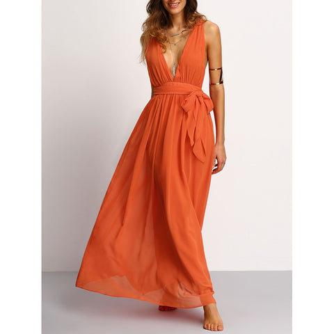 Plunging V-Neckline Tie Waist Maxi Dress Orange