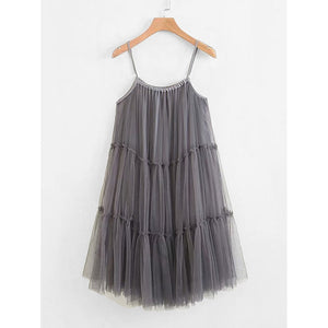 Tiered Seam Mesh Cami Dress