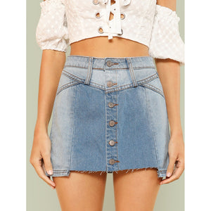 Light Washed Denim Button Up Mini Skirt