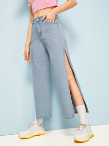 Split Thigh Wide Leg Jeans