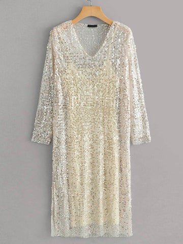 Solid Cami Dress & Sequin Overlay Dress