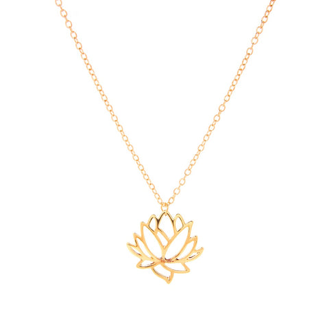 Hollow Lotus Pendant Chain Necklace Gold