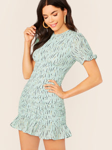 Leaf Print Ruched Ruffle Short Sleeve Mini Dress