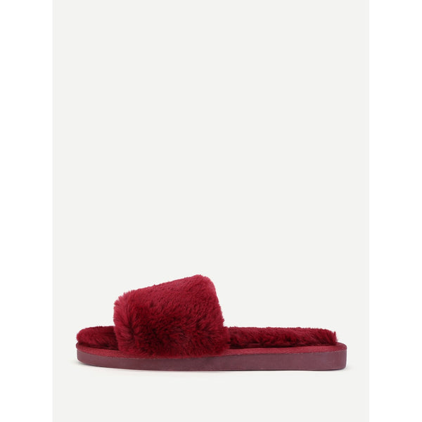 Faux Fur Overlay Flat Slippers BURGUNDY - Anabella's