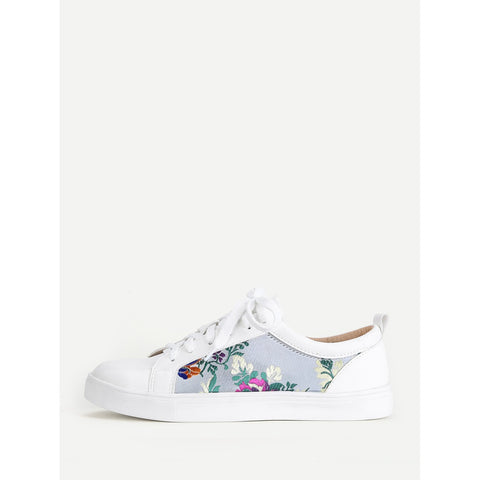 Flower Embroidery Lace Up Trainers - Anabella's