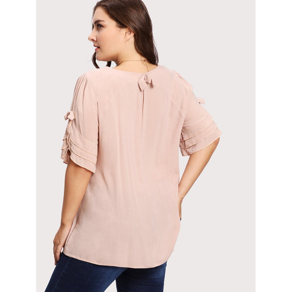 Bow Detail Tiered Frill Sleeve Top - Anabella's