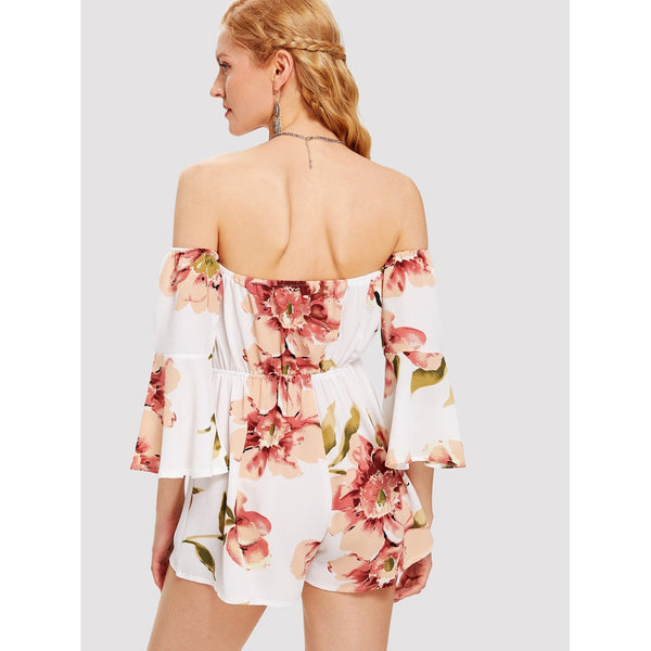 Bardot Flute Sleeve Florals Romper - Anabella's