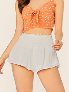 Smocked Waist Culotte Style Shorts
