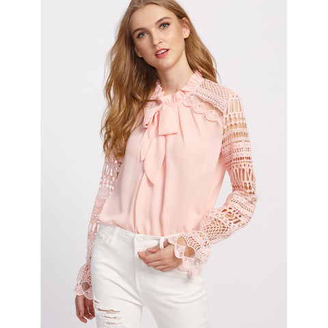 Geo Lace Sleeve Frilled Tie Neck Blouse Pink
