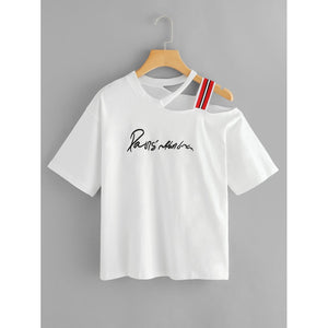 Plus Asymmetrical Neck Slogan Embroidered Tee White