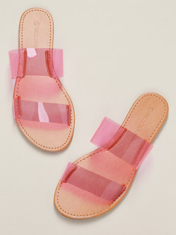 Double Clear Neon Band Flat Slide Sandals