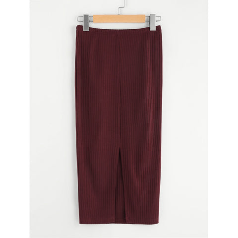 Vented Back Rib Knit Skirt Burgundy