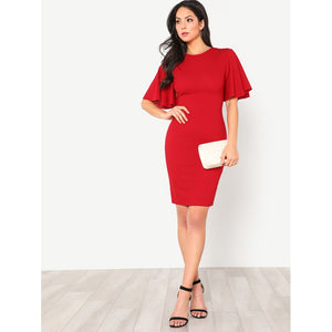 Exaggerate Bell Sleeve Pencil Dress