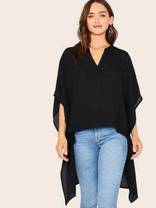 Solid Batwing Sleeve High Low Hem Top