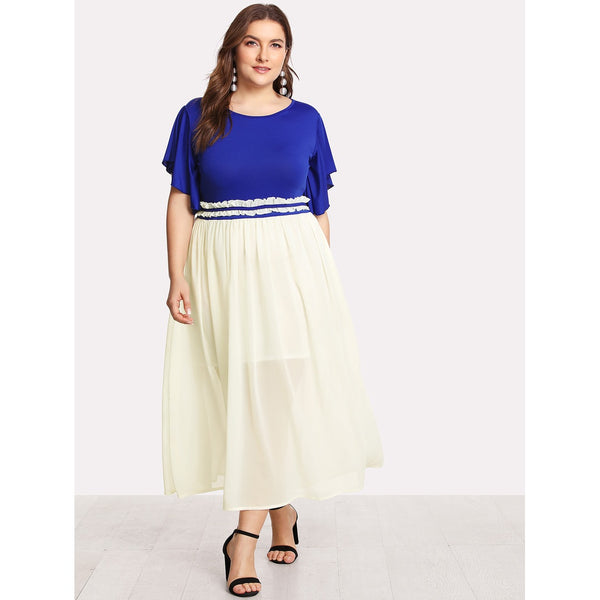 Flutter Sleeve Frilled Two Tone Dress BLUE - Anabella's