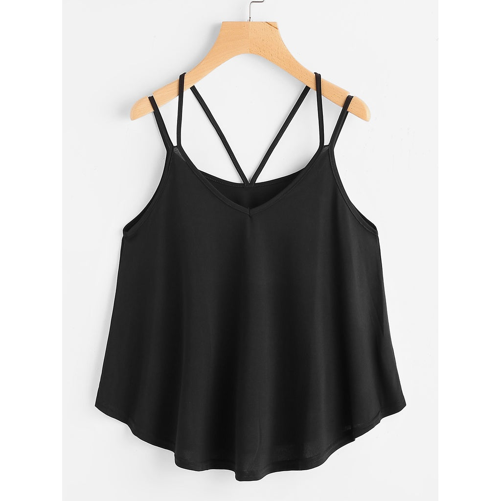 Strappy Cami Top BLACK - Anabella's