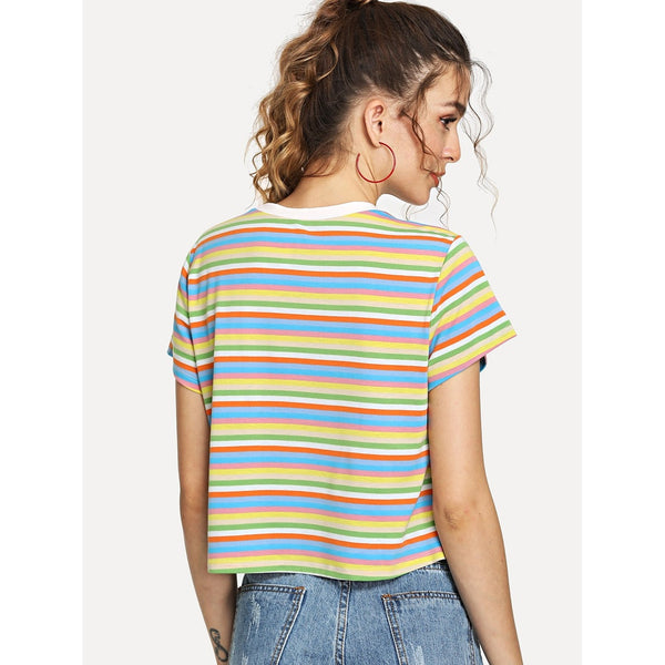 Contrast Neck Colorful Striped Tee Multicolor