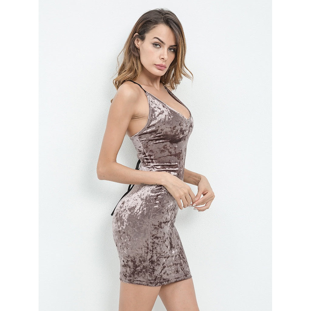 7a1f25e60027 Lace Up Open Back Crushed Velvet Bodycon Dress | Anabella's