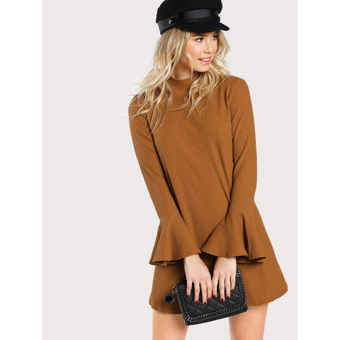 Bell Sleeve Rib Knit Dress