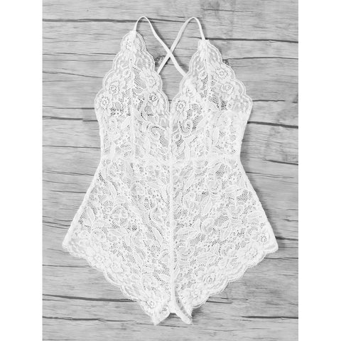 Scalloped Trim Criss Cross Lace Bodysuit White