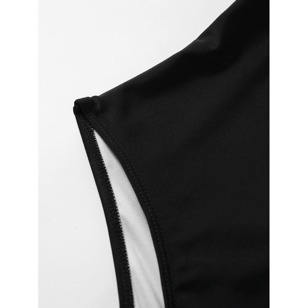Cross Back Ruched Detail Plunge Swimsuit BLACK