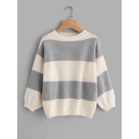Drop Shoulder Wide Striped Sweater