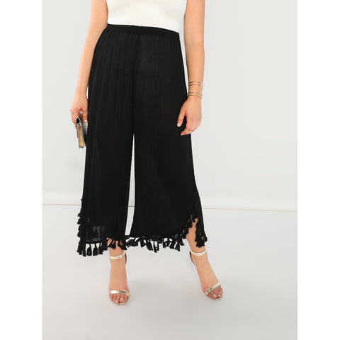 Plus Tassel Detail Hem Semi Sheer Pants