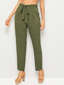 Self Belted Pleated Detail Tapered Pants