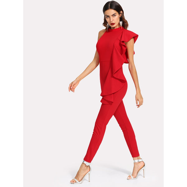 Asymmetrical Flounce Solid Tailored Jumpsuit