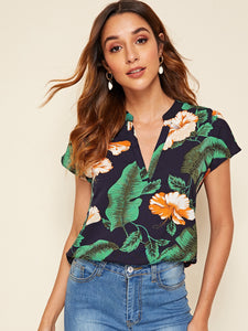 V-cut Neck Curved Hem Tropical Print Top
