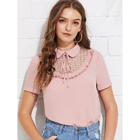 Guipure Lace Insert Frill Trim Top