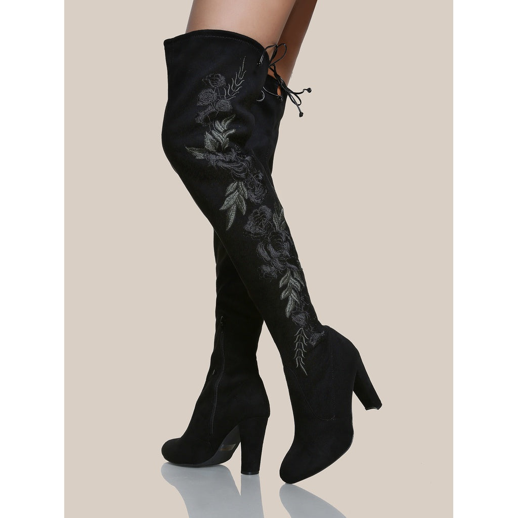Floral Embroidered Faux Suede Boots BLACK - Anabella's
