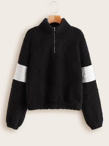 Half Zipper Front Colorblock Teddy Sweatshirt