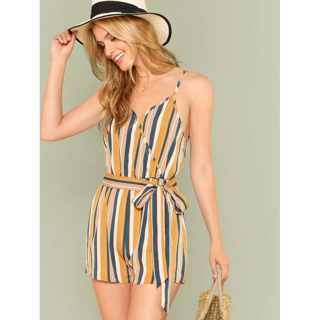 Elastic Waist Striped Wrap Cami Romper