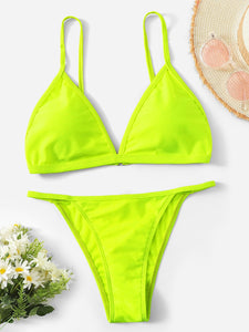 Neon Lime Triangle Top With Tanga Bikini Set