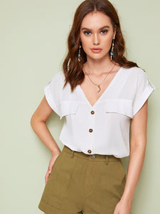 Rolled Cuff Button Through Blouse