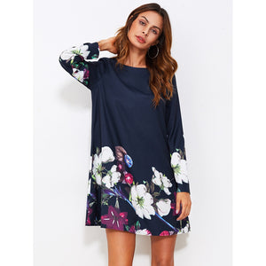 Flower Print Flowy Dress Navy