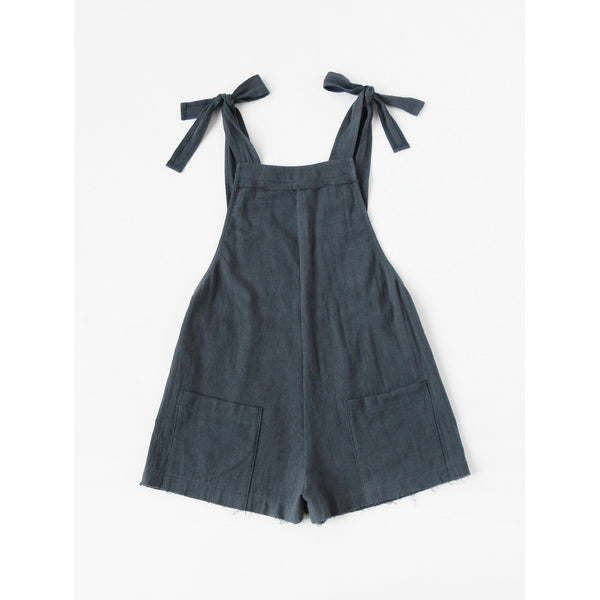Self Tie Raw Hem Pinafore Romper