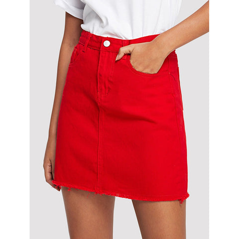 Frayed Hem Denim Skirt Red