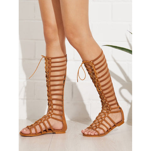 Lace Up Front Caged Flat Sandals Brown